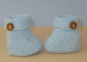 Easy Baby Roll Top 1 Button Booties by MadMonkeyKnits (824) - Digital Version
