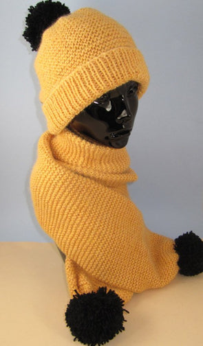 Easy Chunky Big Bobble Beanie Hat and Scarf Set by MadMonkeyKnits (904) - Digital Version