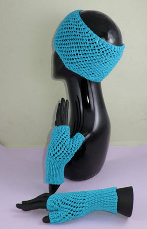 Easy Lace Fingerless Gloves and Headband Set by MadMonkeyKnits (758) - Digital Version