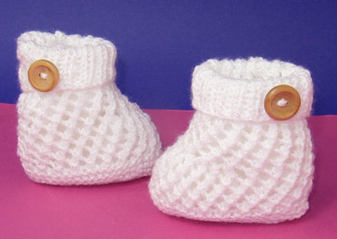 Easy Baby 1 Button Lacey Booties by MadMonkeyKnits (822) - Digital Version