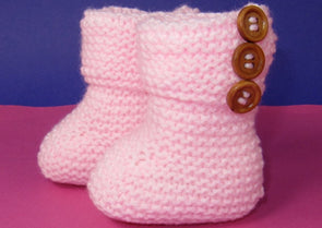 Easy Baby 3 Button Garter Stitch Booties by MadMonkeyKnits (819) - Digital Version