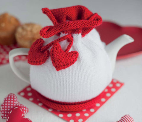 Easy Knitted Valentines Day Tea Cosy - Digital Version