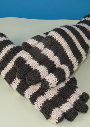 Easy Stripe Gloves by MadMonkeyKnits (783) - Digital Version