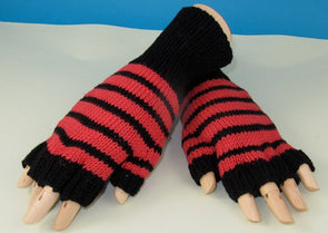 Easy Stripe Short Finger Gloves by MadMonkeyKnits (778) - Digital Version