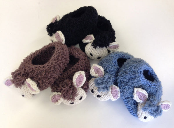Sheep Slippers by Emma Wright in Erika Knight Fur Wool - Digital Version