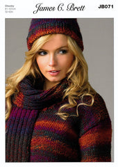Sweater, Hat & Scarf in James C. Brett Marble Chunky (JB071)
