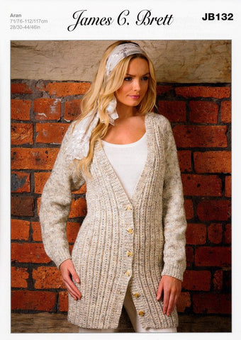 Cardigan in James C. Brett Rustic Aran With Wool (JB132)