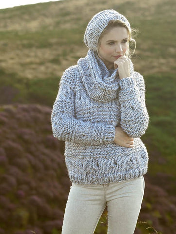 Sweater, Snood and Hat in James C. Brett Rustic Mega Chunky (JB273)