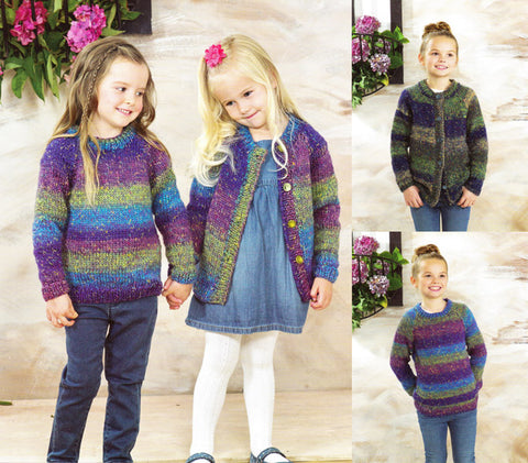 Childrens Sweater & Cardigan in James C. Brett Tuscany Chunky (JB471)