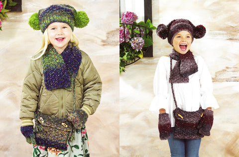 Childrens Hat, Scarf, Mittens & Bag in James C. Brett Tuscany Chunky (JB472)