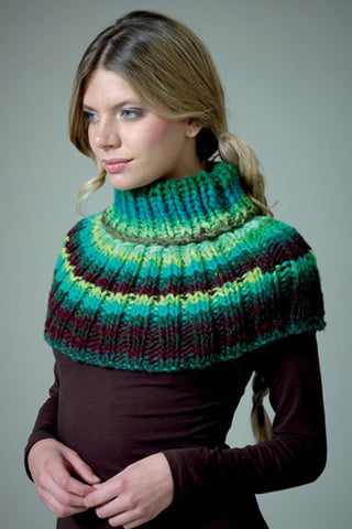 Polo Neck Warmer in Noro Kureyon Air