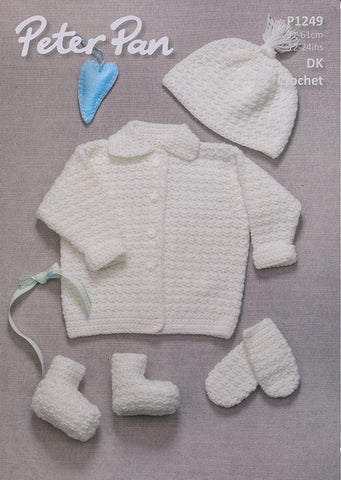Crochet Jacket, Hat, Mitts and Bootees in Peter Pan DK (P1249)