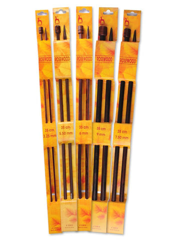Pony Single Point Knitting Needles (Rosewood) - 35cm (Pair)