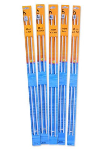 Pony Single Point Knitting Needles (Aluminium) - 40cm (Pair)
