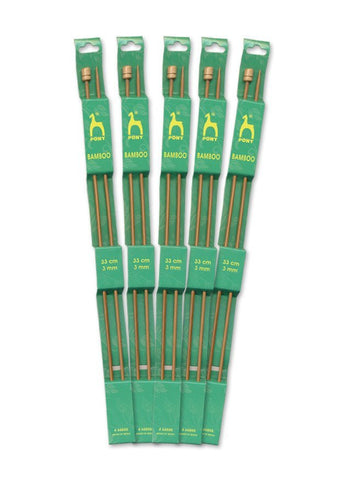 Pony Single Point Knitting Needles (Bamboo) - 33cm (Pair)