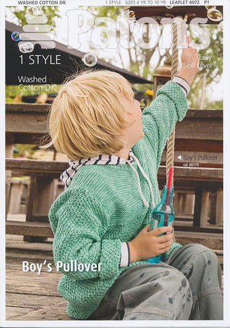 Boys Pullover in Patons Washed Cotton DK (4072)-Deramores