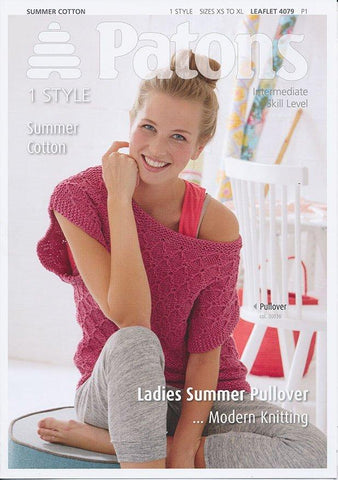 Ladies Summer Pullover in Patons Summer Cotton (4079)-Deramores