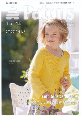 Cute Girls Cardigan in Patons Smoothie DK (4061)