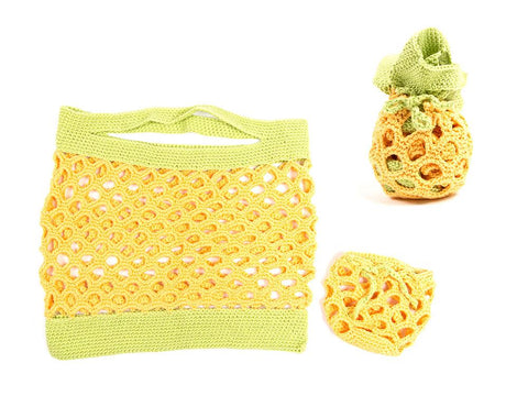 Pineapple Shopping Bag by Zoë Potrac in Stylecraft Classique Cotton DK