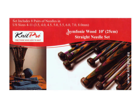 Knit Pro Symfonie Wood Single Point Knitting Needle Set - 25cm (Set of 8 Pairs)