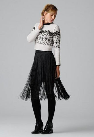 Short Jacquard Sweater in Bergere de France Caline (702.82)