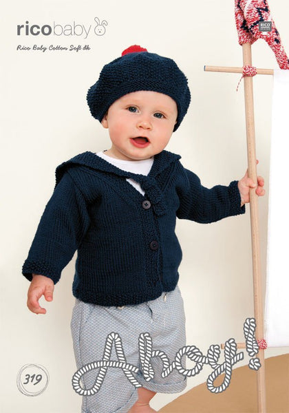 Sailors Cardigan and Hat in Rico Design Baby Cotton Soft DK (319)