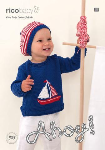 Sweater with Sailing Boat Motif and Sailor's Hat in Rico Design Baby Cotton Soft DK (325)