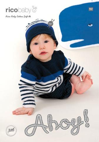 Striped Jumper and Striped Hat in Rico Design Baby Cotton Soft DK (326)