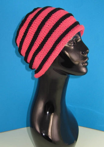 Stripe Roll Brim Beanie Hat by MadMonkeyKnits (736) - Digital Version