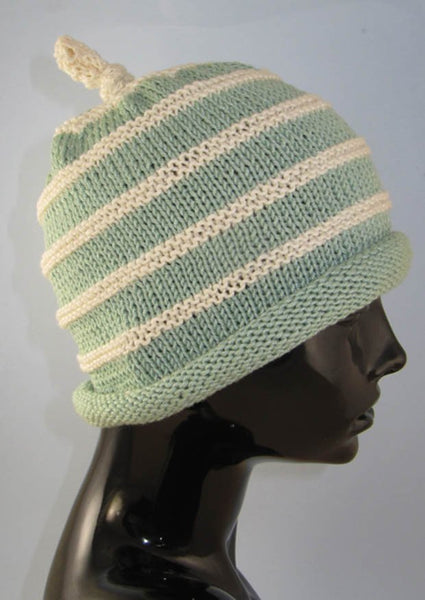 Stripe Roll Brim Topknot Beanie Hat by MadMonkeyKnits (851) - Digital Version