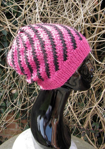 Stripey Swirl Slouch Hat by MadMonkeyKnits (516) - Digital Version