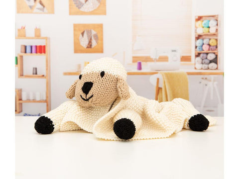 Babies Pram Lamb Blanket by Nicola Valiji in Deramores Studio Chunky Knitting Kit and Pattern