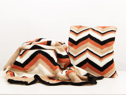 Chevron Blanket & Cushion by Nicola Valiji in Deramores Studio Aran