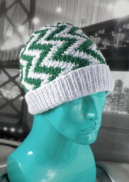 Zig Zag Stripe Beanie by MadMonkeyKnits (489) - Digital Version