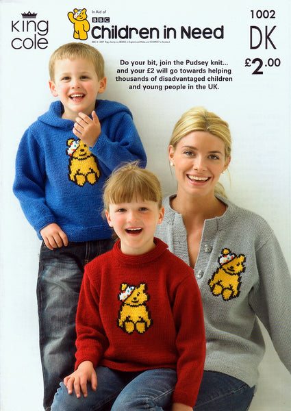 Children in Need Pudsey Bear Sweaters and Cardigan Knitted in King Cole DK (1002)