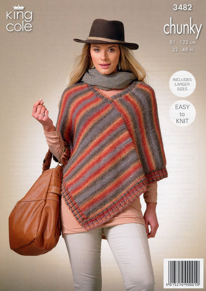 Square Poncho and Pointed Poncho in King Cole Riot Chunky (3482)