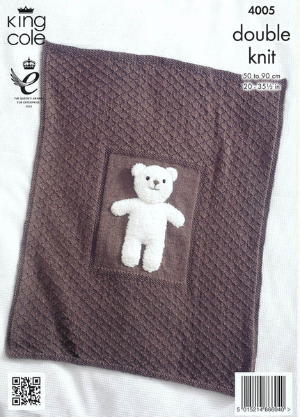 Baby Blankets and Teddy Bear Toy in King Cole DK (4005)