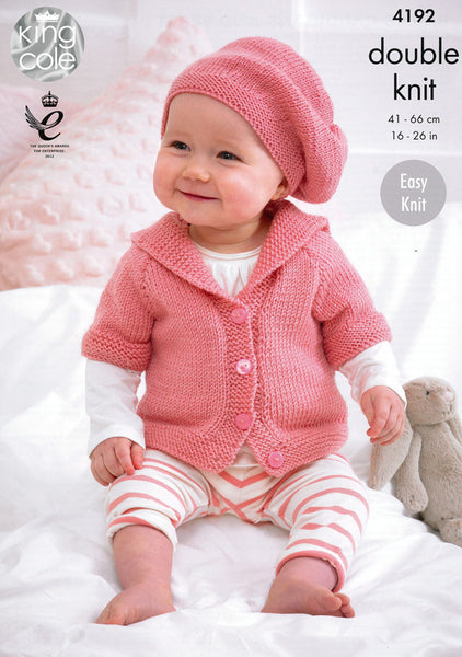 Babies Cardigans and Beret in King Cole Cherish and Cherished DK (4192)