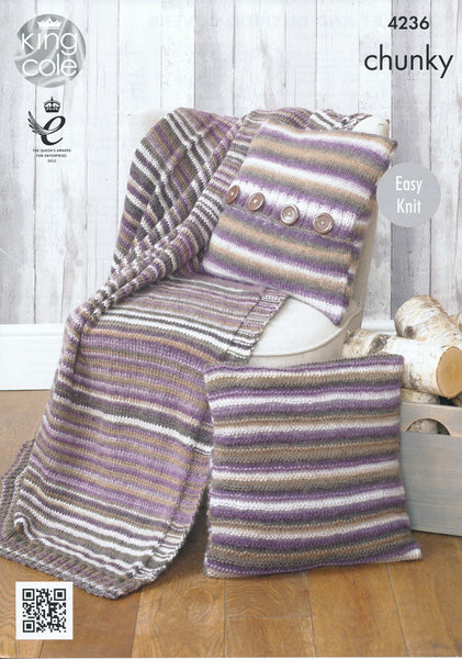 Blanket and Cushion Covers in King Cole Riot Chunky (4236)