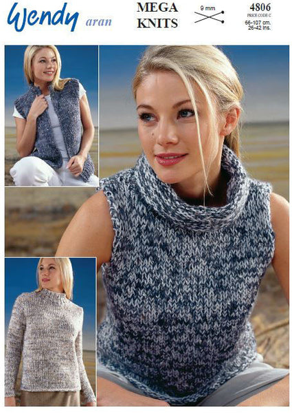Sweater, Sleeveless Top and Gilet in Wendy Aran Fancy and Aran with Wool (4806) Digital Version