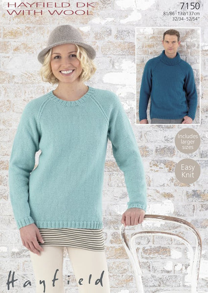 His & Hers  Round Neck and Polo-neck Sweaters in Hayfield DK With Wool (7150)
