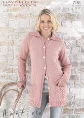 Womens Cable Jacket in Hayfield DK With Wool (7151)