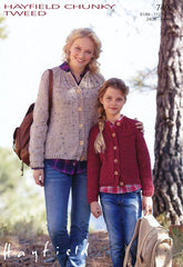 Cardigans in Hayfield Chunky Tweed (7492)