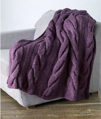 LION BRAND Wool Ease Thick & Quick Cable Comfort Throw - Digital Version