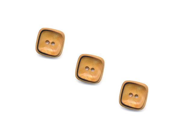 Square Rimmed Wooden Buttons - 1068