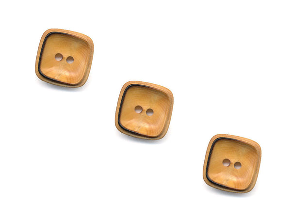 Square Rimmed Wooden Buttons - 1069