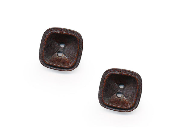 Square Rimmed Wooden Buttons - 1077