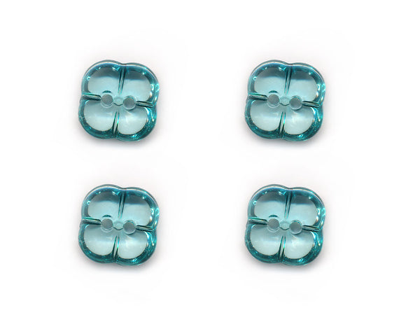 Transparent Square Clover Style Buttons - Green - 225