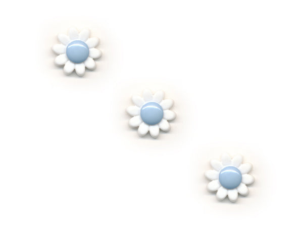 Flower Buttons - White & Blue - 432