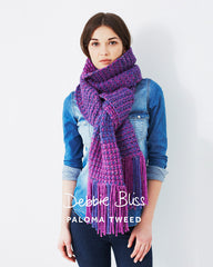 Two Colour Scarf in Debbie Bliss Paloma Tweed (DB040)